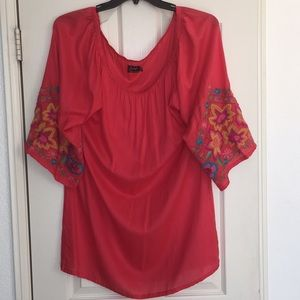 Tops - Women's Embroidery Embellished Tunic Top